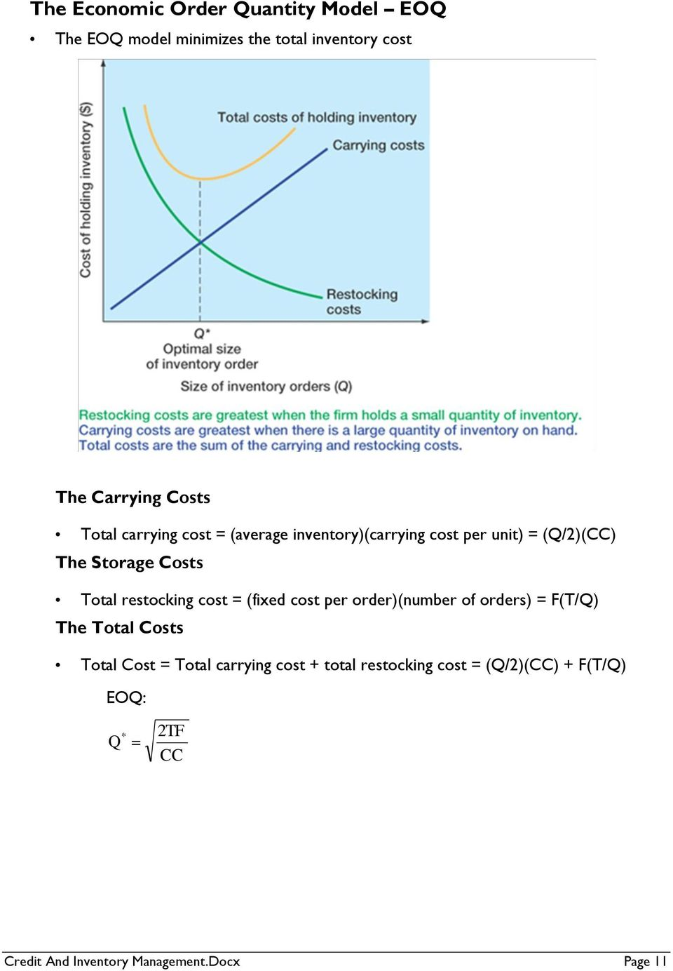 restocking cost = (fixed cost per order)(number of orders) = F(T/Q) The Total Costs Total Cost = Total