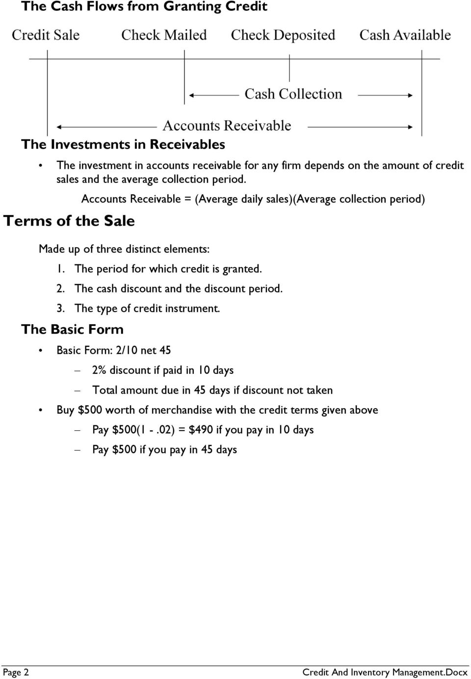 The cash discount and the discount period. 3. The type of credit instrument.