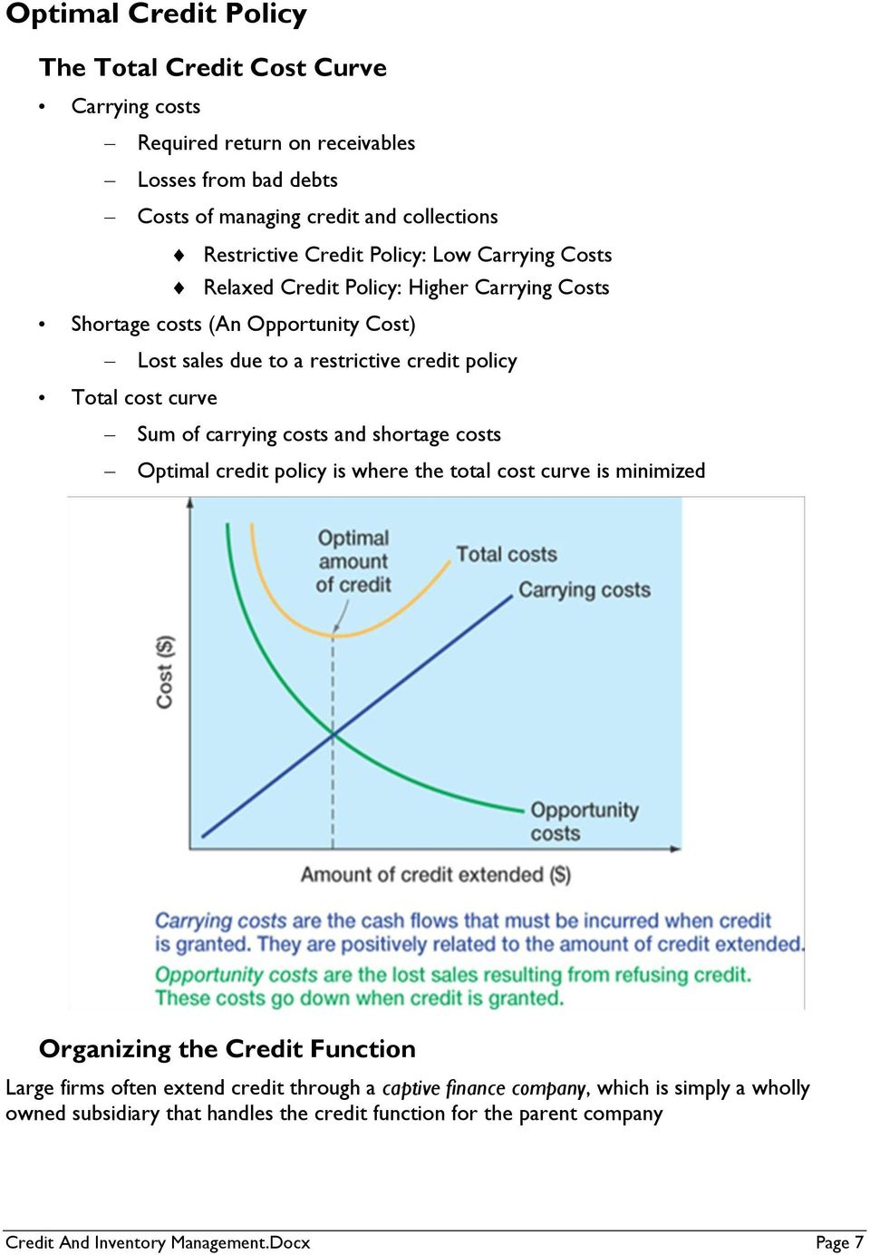 curve Sum of carrying costs and shortage costs Optimal credit policy is where the total cost curve is minimized Organizing the Credit Function Large firms often extend