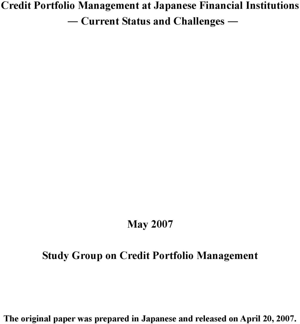Study Group on Credit Portfolio Management The