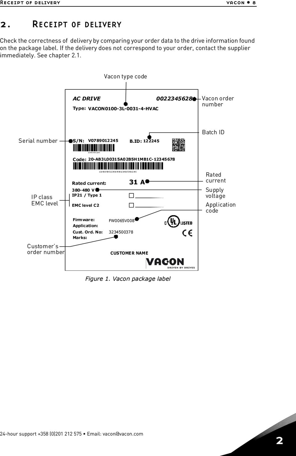 Vacon type code AC DRIVE 0022345628 Type: VACON0100-3L-0031-4-HVAC Vacon order number Batch ID Serial number S/N: V0789012245 B.