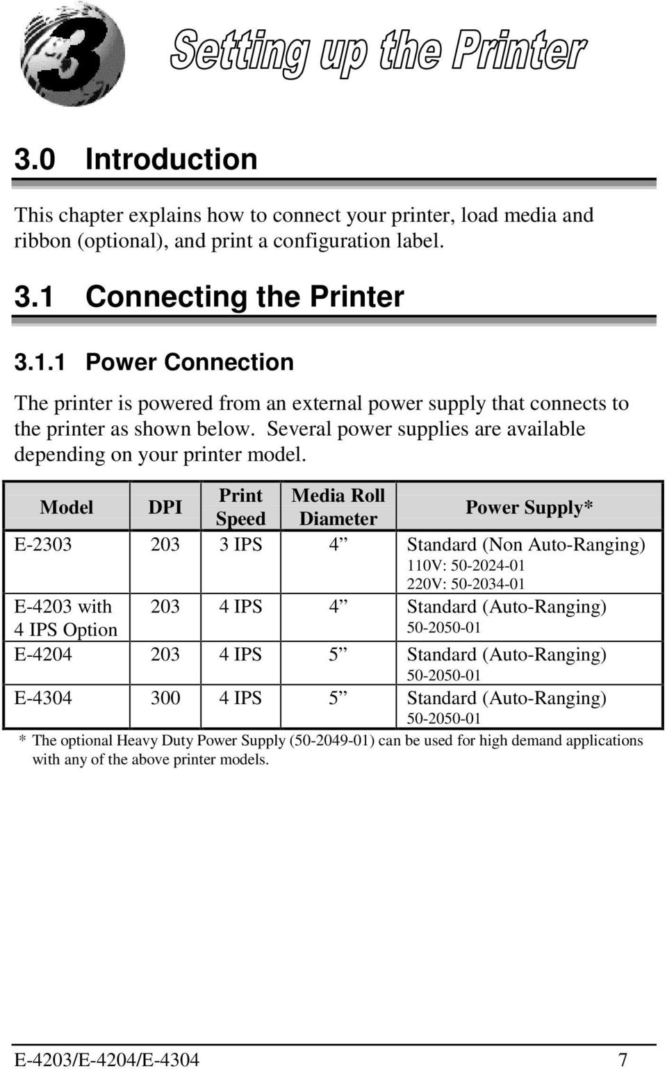 Several power supplies are available depending on your printer model.