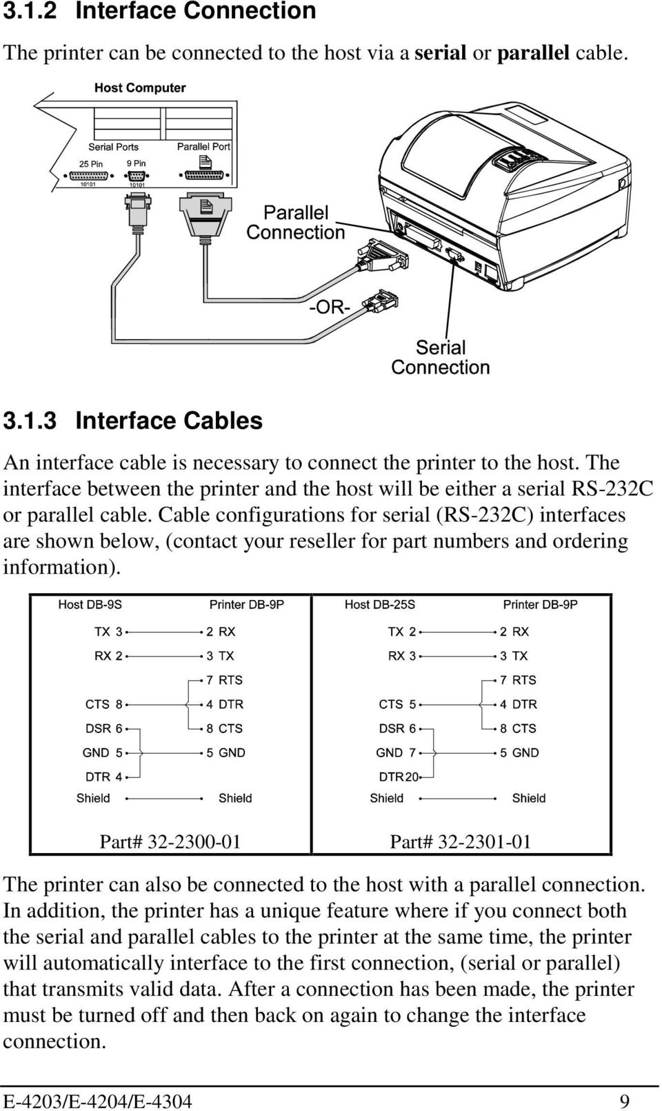 Cable configurations for serial (RS-232C) interfaces are shown below, (contact your reseller for part numbers and ordering information).