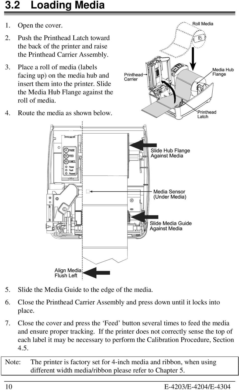 Slide the Media Guide to the edge of the media. 6. Close the Printhead Carrier Assembly and press down until it locks into place. 7.