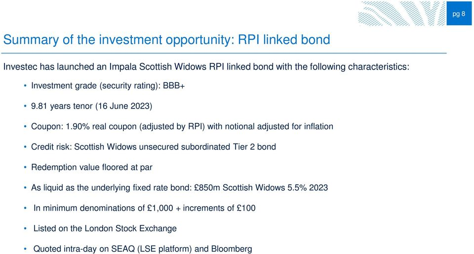 90% real coupon (adjusted by RPI) with notional adjusted for inflation Credit risk: Scottish Widows unsecured subordinated Tier 2 bond Redemption value