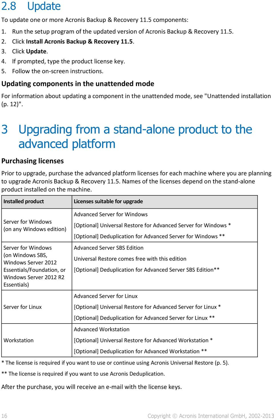 "Updating components in the unattended mode For information about updating a component in the unattended mode, see ""Unattended installation (p. 12)""."
