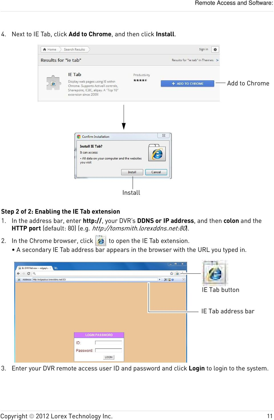 lorexddns.net:80). 2. In the Chrome browser, click to open the IE Tab extension.