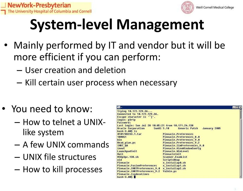 certain user process when necessary You need to know: How to telnet a