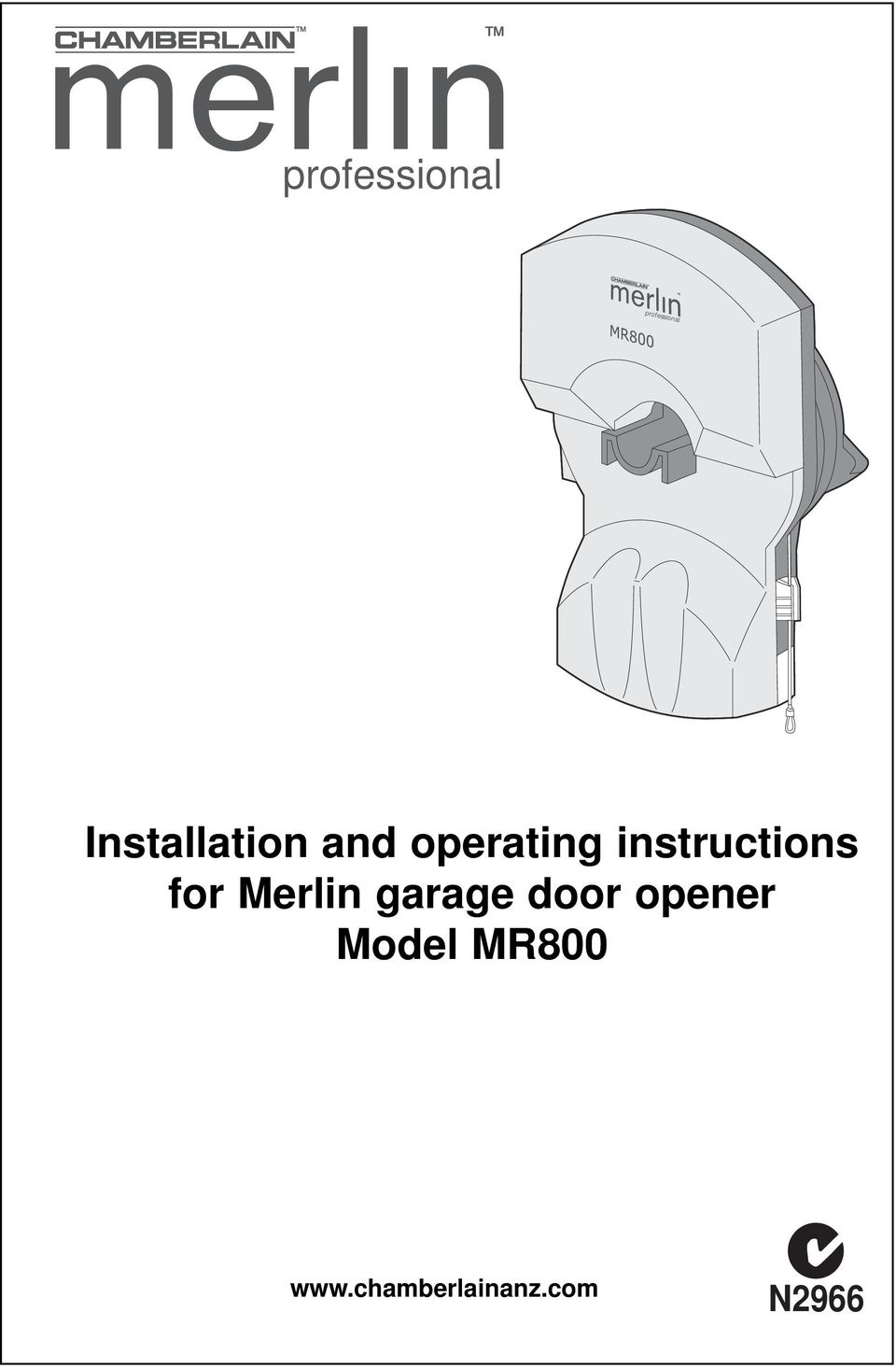 instructions for Merlin garage
