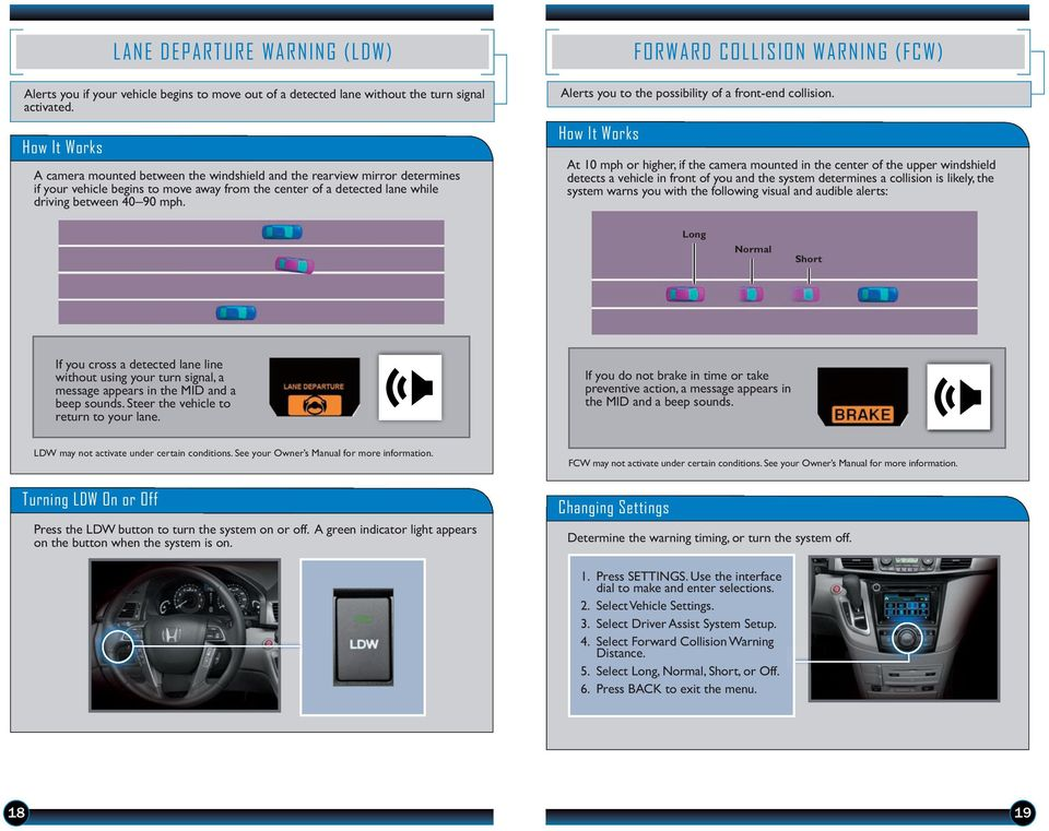 How It Works FORWARD COLLISION WARNING (FCW) Alerts you to the possibility of a front-end collision.