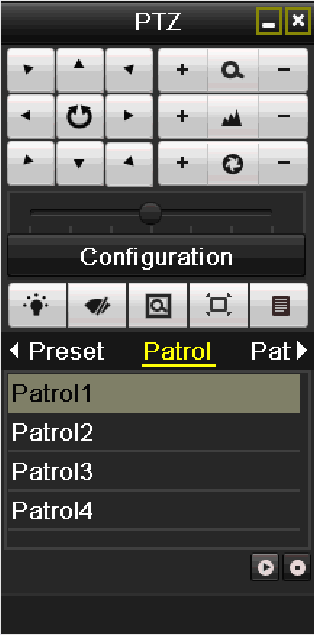 1. Press PTZ control on the IR remote, or click PTZ Control icon on the quick setting toolbar, to show the PTZ control toolbar. 2.