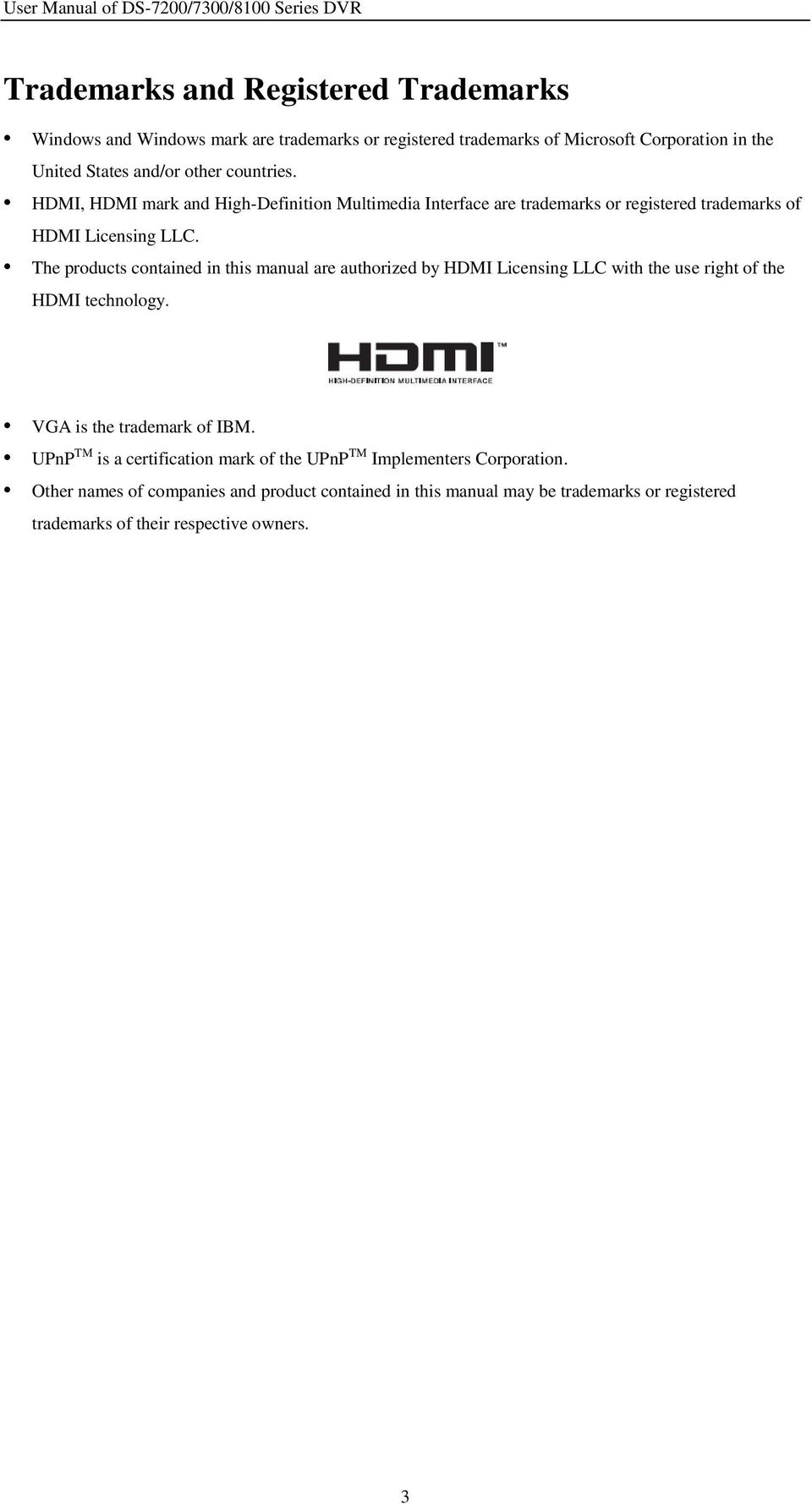 The products contained in this manual are authorized by HDMI Licensing LLC with the use right of the HDMI technology. VGA is the trademark of IBM.