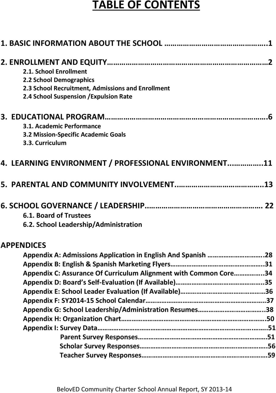 PARENTAL AND COMMUNITY INVOLVEMENT....13 6. SCHOOL GOVERNANCE / LEADERSHIP... 22 6.1. Board of Trustees 6.2. School Leadership/Administration APPENDICES Appendix A: Admissions Application in English And Spanish.