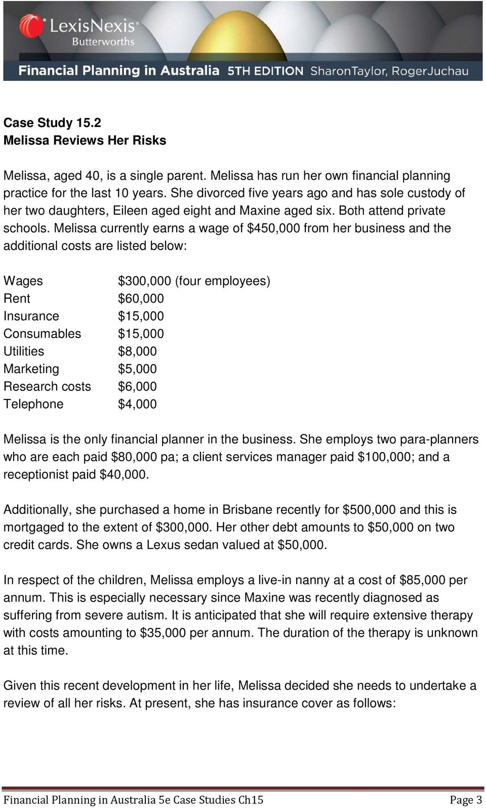 Melissa currently earns a wage of $450,000 from her business and the additional costs are listed below: Wages $300,000 (four employees) Rent $60,000 Insurance $15,000 Consumables $15,000 Utilities
