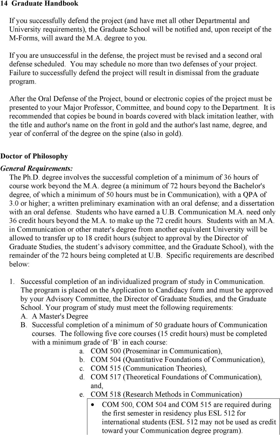 Failure to successfully defend the project will result in dismissal from the graduate program.