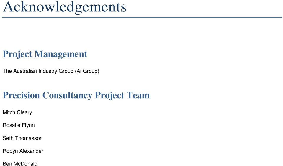 Precision Consultancy Project Team Mitch