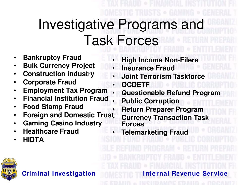 Industry Healthcare Fraud HIDTA Task Forces High Income Non-Filers Insurance Fraud Joint Terrorism Taskforce