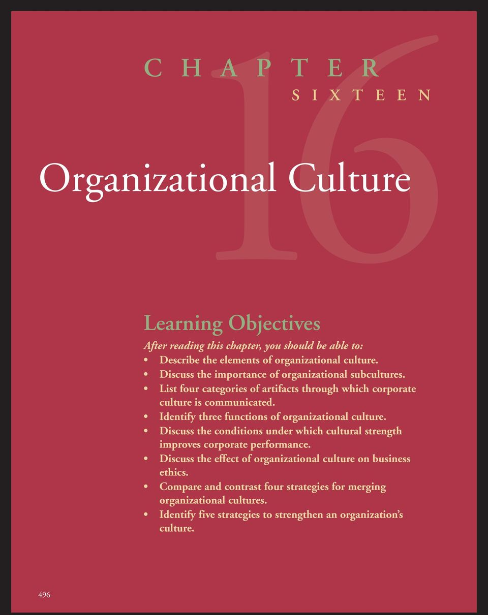 Identify three functions of organizational culture. Discuss the conditions under which cultural strength improves corporate performance.