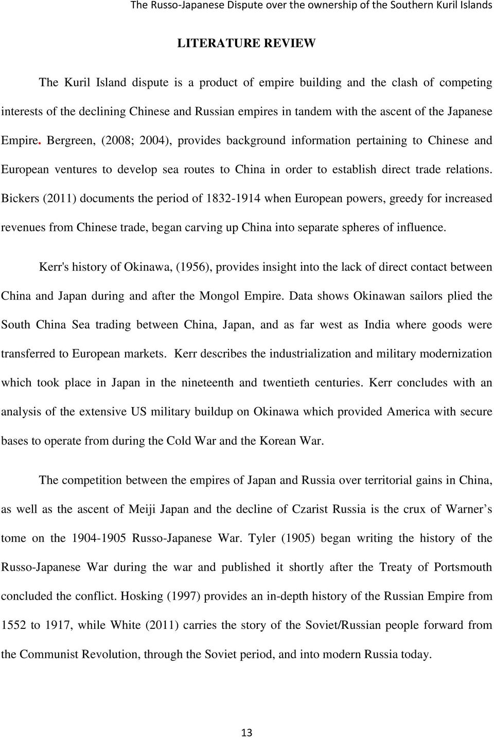 Bickers (2011) documents the period of 1832-1914 when European powers, greedy for increased revenues from Chinese trade, began carving up China into separate spheres of influence.