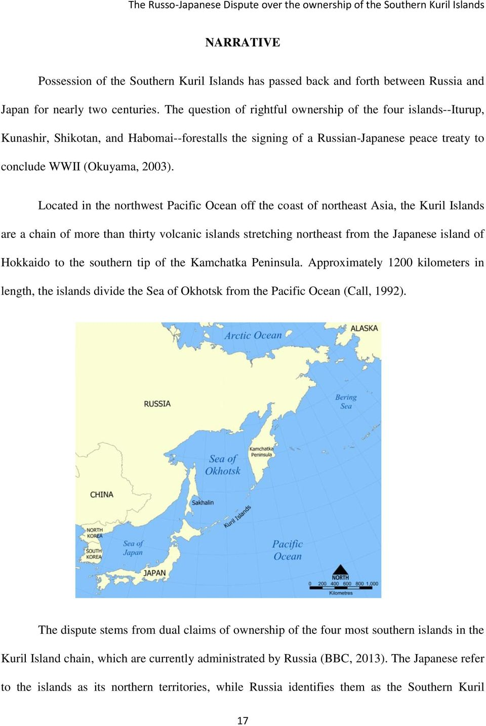 Located in the northwest Pacific Ocean off the coast of northeast Asia, the Kuril Islands are a chain of more than thirty volcanic islands stretching northeast from the Japanese island of Hokkaido to