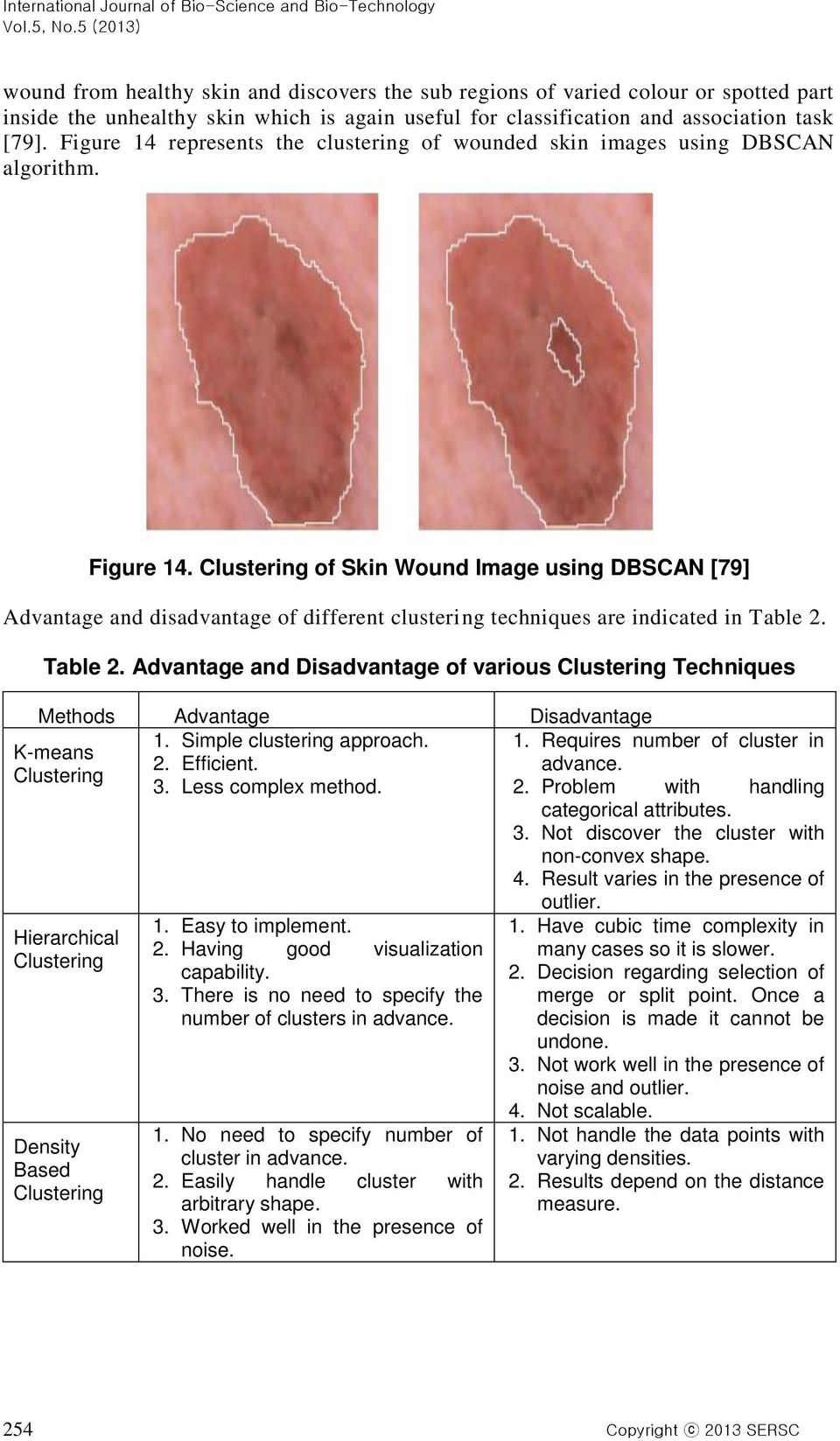 Clustering of Skin Wound Image using DBSCAN [79] Advantage and disadvantage of different clustering techniques are indicated in Table 2.