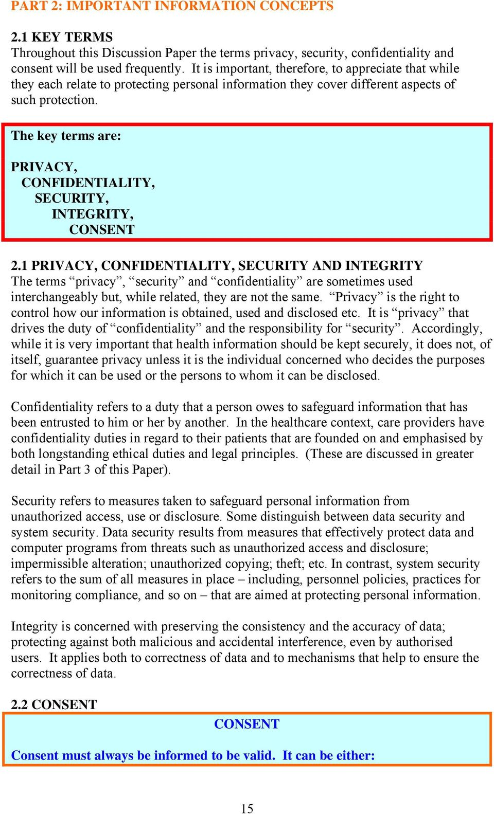 The key terms are: PRIVACY, CONFIDENTIALITY, SECURITY, INTEGRITY, CONSENT 2.