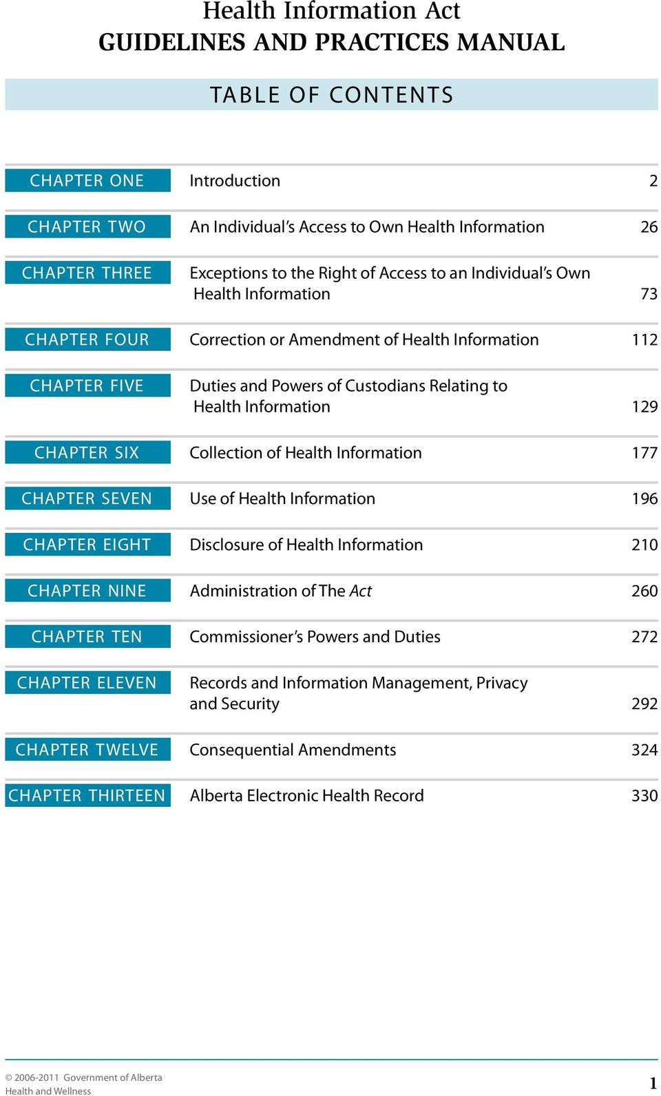 129 CHAPTER SIX Collection of Health Information 177 CHAPTER SEVEN Use of Health Information 196 CHAPTER EIGHT Disclosure of Health Information 210 CHAPTER NINE Administration of The Act 260 CHAPTER