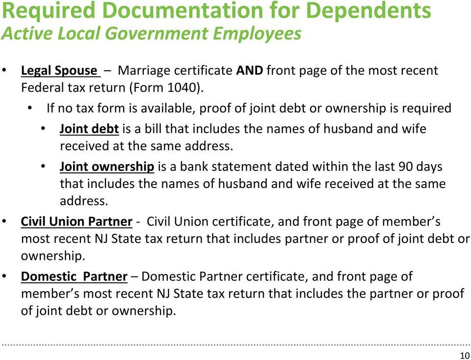 Joint ownership is a bank statement dated within the last 90 days that includes the names of husband and wife received at the same address.