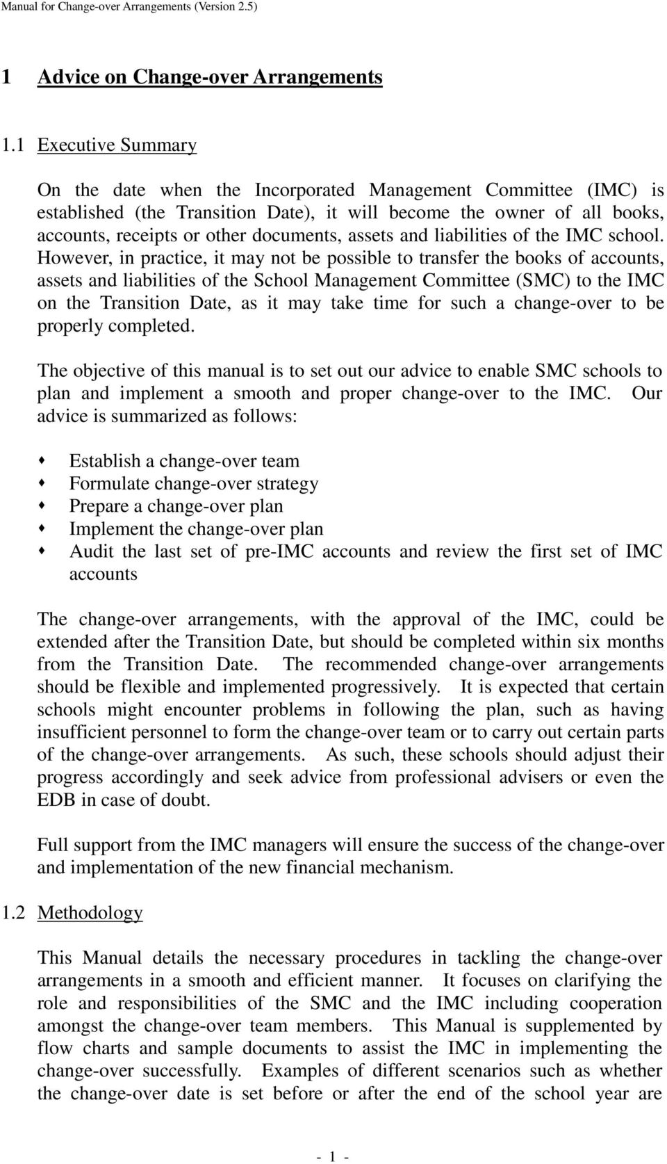 assets and liabilities of the IMC school.