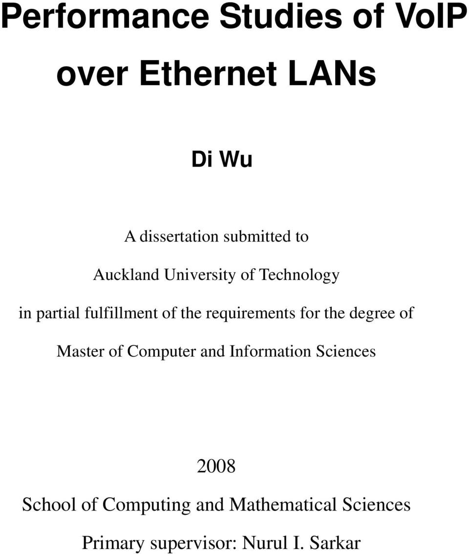 requirements for the degree of Master of Computer and Information Sciences