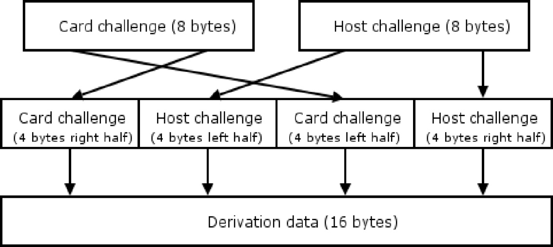 The Card cryptogram is generated by concatenation of the Host and card challenges with the Input Data. Then it is padded by the block ( 80 00 00 00 00 00 00 00 ).
