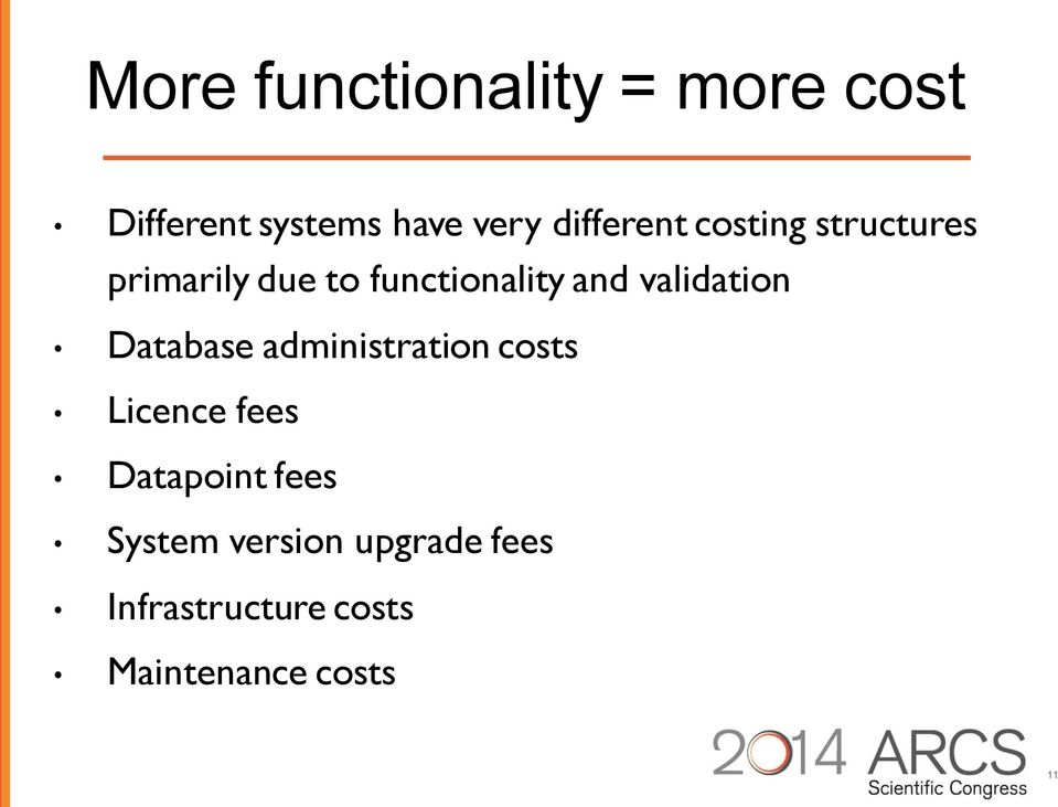 validation Database administration costs Licence fees Datapoint