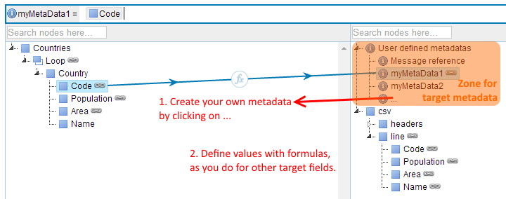 Figure 4.96. Using metadata Define metadata Defining your own metadata, and storing values into them can be done via the metadata section, on top of the target tree.