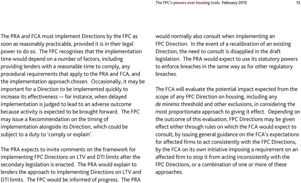 and FCA, and the implementation approach chosen.