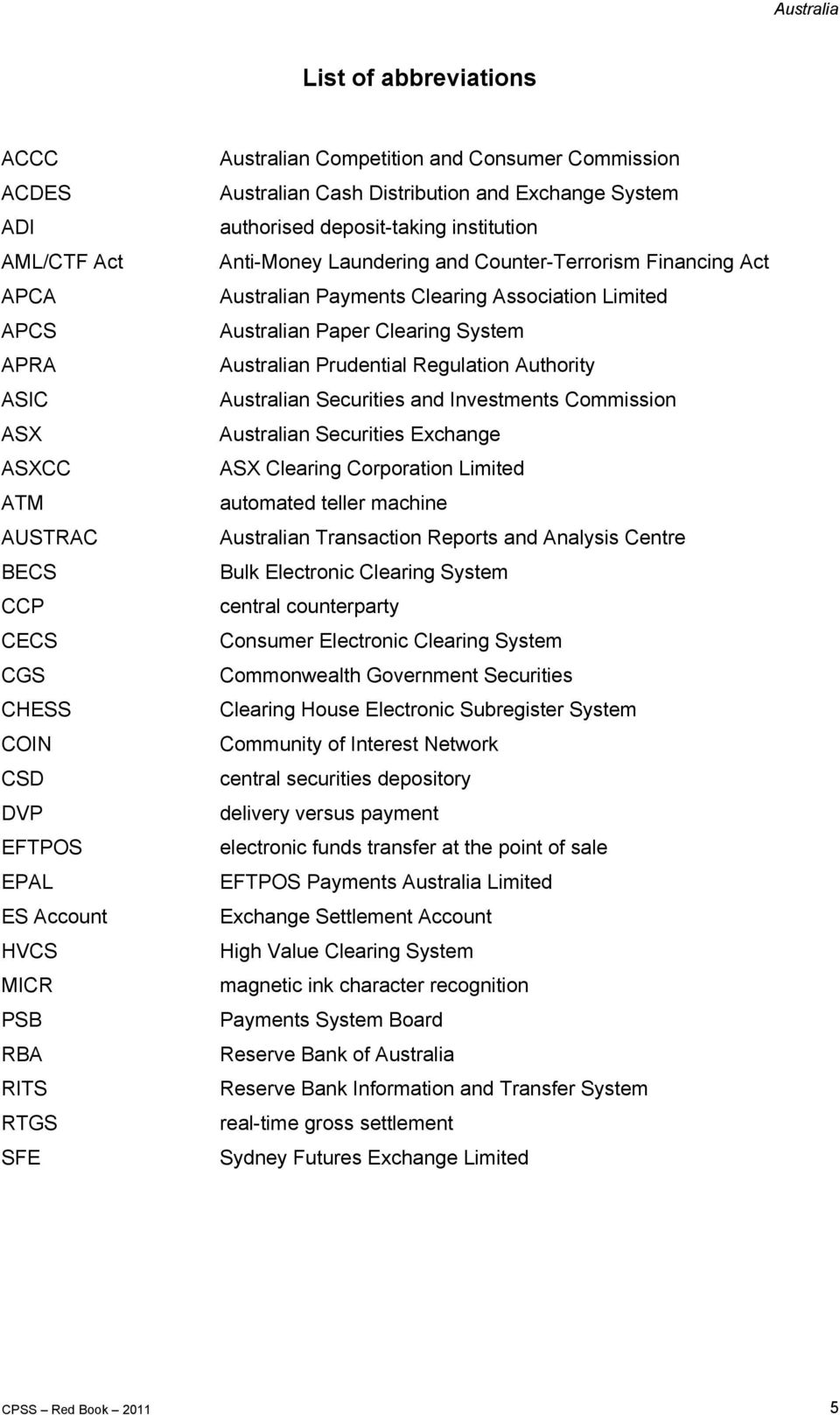 Australian Payments Clearing Association Limited Australian Paper Clearing System Australian Prudential Regulation Authority Australian Securities and Investments Commission Australian Securities