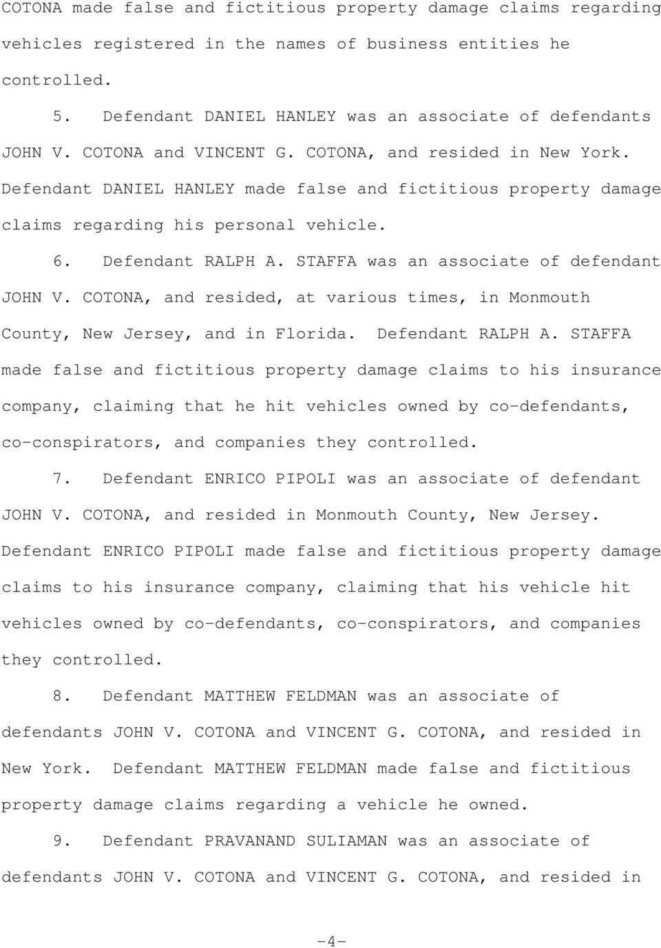 STAFFA was an associate of defendant JOHN V. COTONA, and resided, at various times, in Monmouth County, New Jersey, and in Florida. Defendant RALPH A.