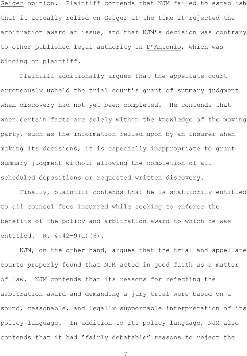 authority in D Antonio, which was binding on plaintiff.
