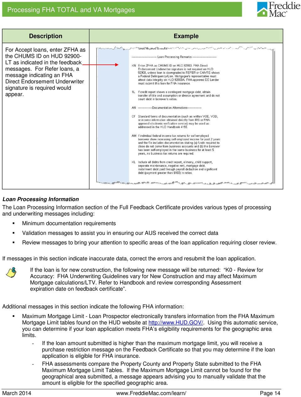 Loan Processing Information The Loan Processing Information section of the Full Feedback Certificate provides various types of processing and underwriting messages including: Minimum documentation