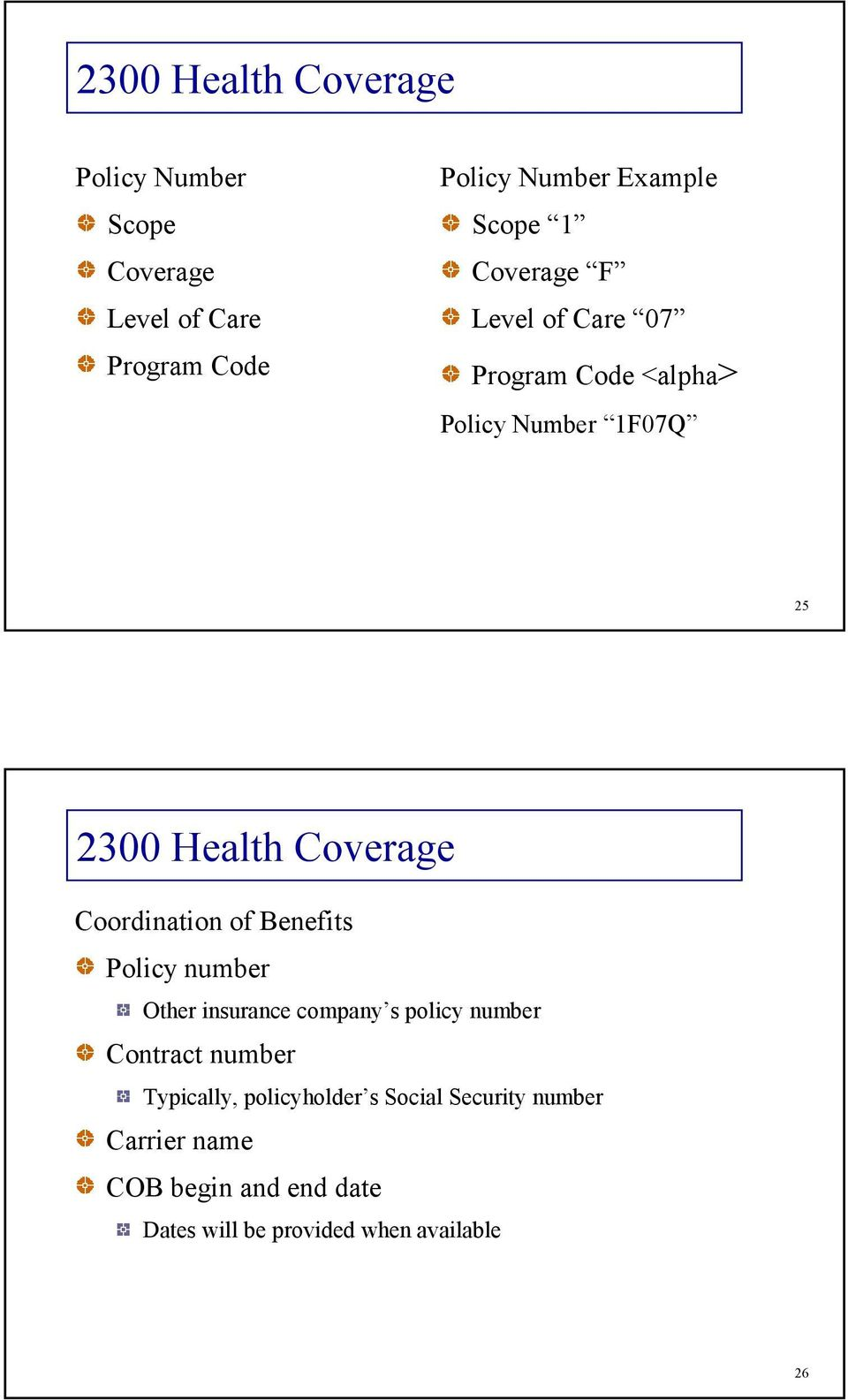 Coordination of Benefits Policy number Other insurance company s policy number Contract number
