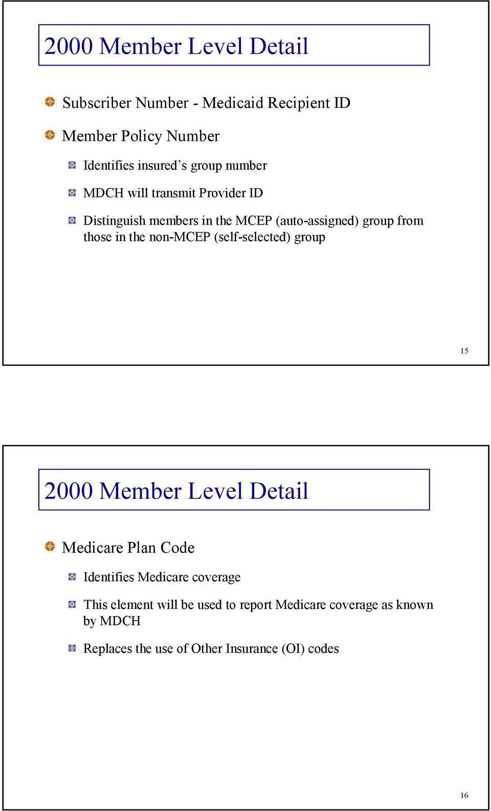 the non-mcep (self-selected) group 15 2000 Member Level Detail Medicare Plan Code Identifies Medicare coverage