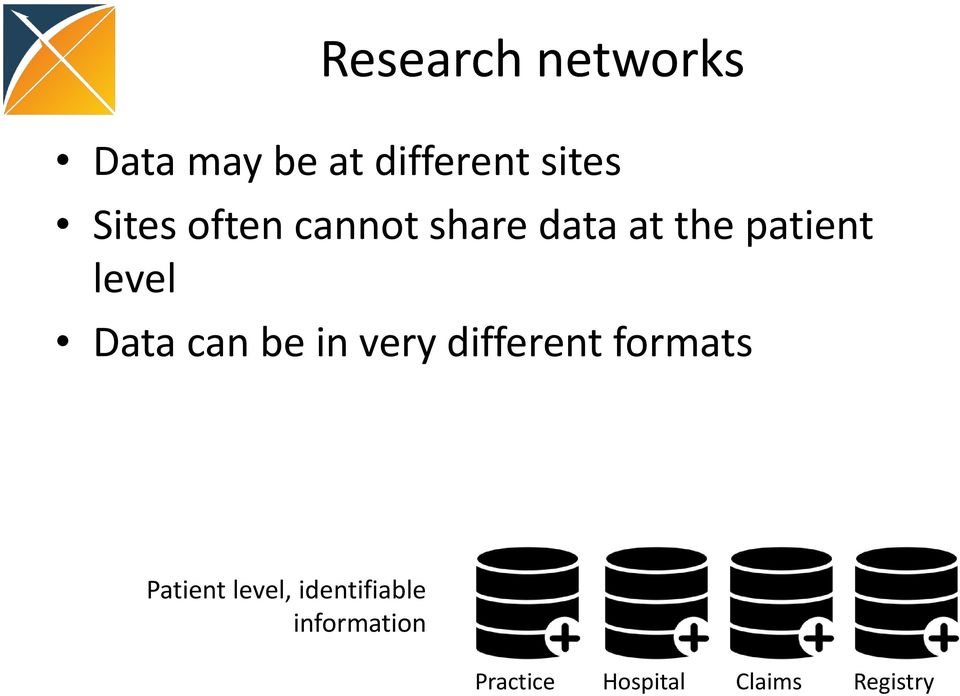 Data can be in very different formats Patient level,