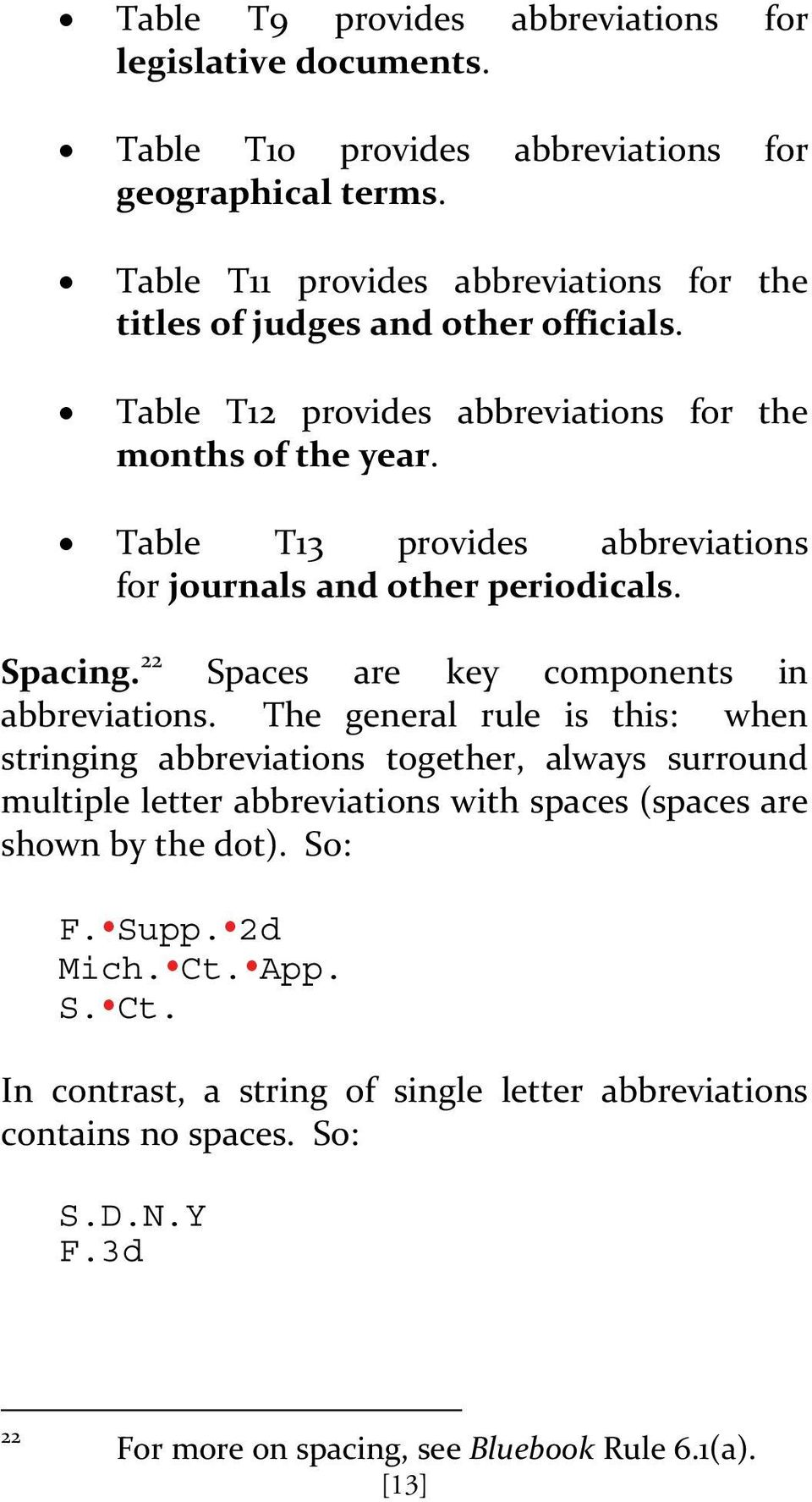Table T13 provides abbreviations for journals and other periodicals. Spacing. 22 Spaces are key components in abbreviations.