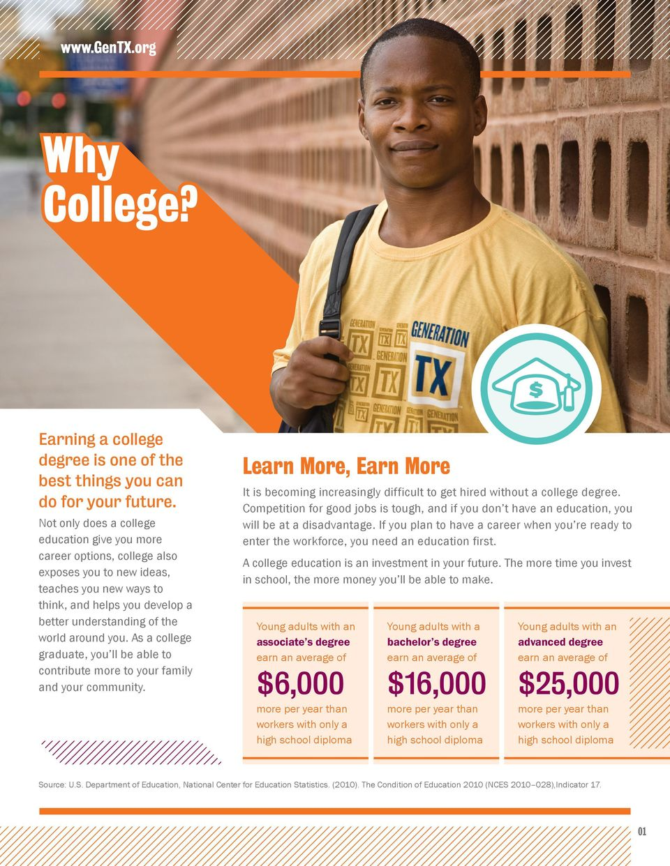 you. As a college graduate, you ll be able to contribute more to your family and your community. Learn More, Earn More It is becoming increasingly difficult to get hired without a college degree.