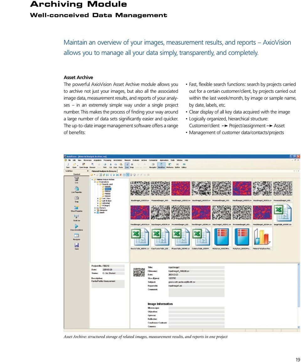 Asset Archive The powerful AxioVision Asset Archive module allows you to archive not just your images, but also all the associated image data, measurement results, and reports of your analyses in an