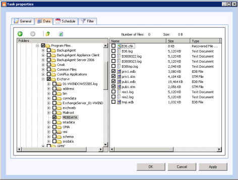 15.6 Backup of Exchange using VSS Finally Online Backup Client supports VSS and this can force Exchange to write a consistent backup copy of the.edb-file and the stm file to the shadow volume.
