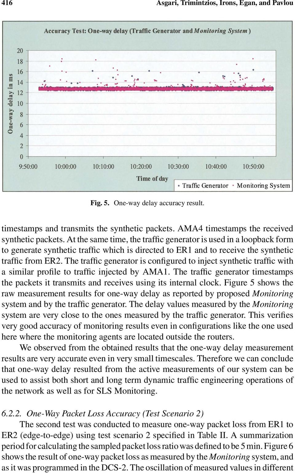 The traffic generator is configured to inject synthetic traffic with a similar profile to traffic injected by AMA1.