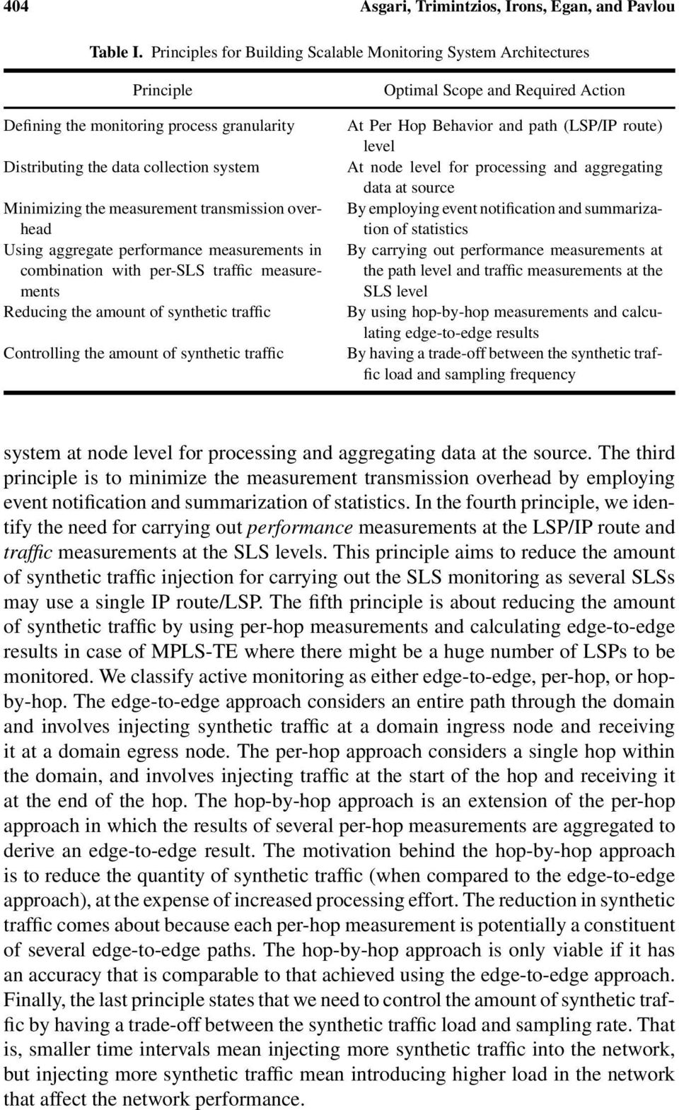 overhead Using aggregate performance measurements in combination with per-sls traffic measurements Reducing the amount of synthetic traffic Controlling the amount of synthetic traffic Optimal Scope