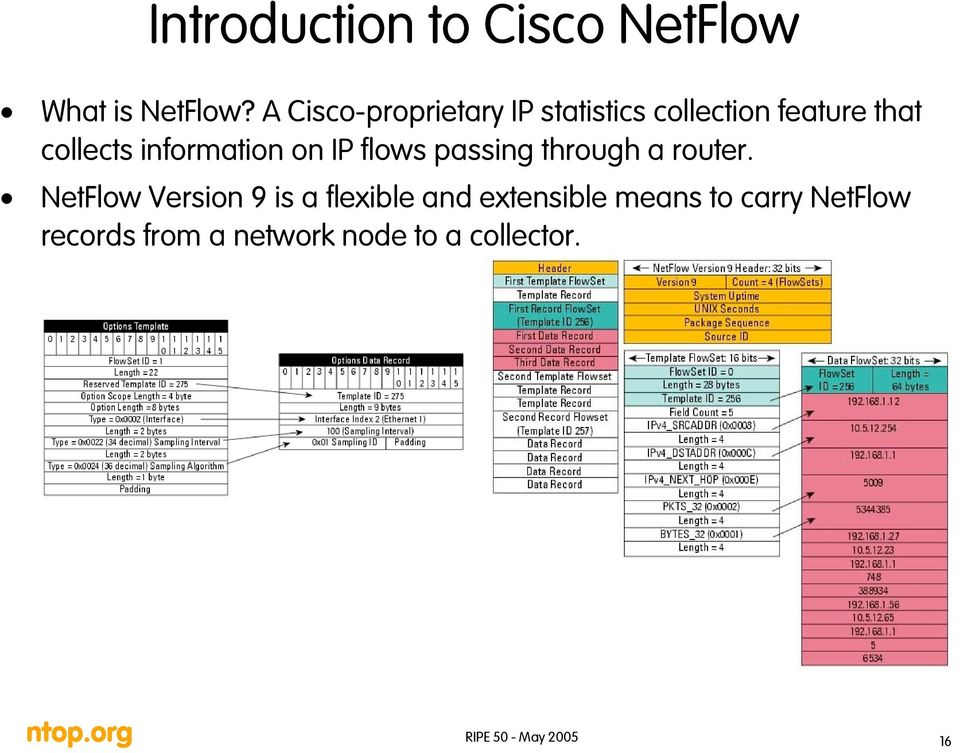 information on IP flows passing through a router.