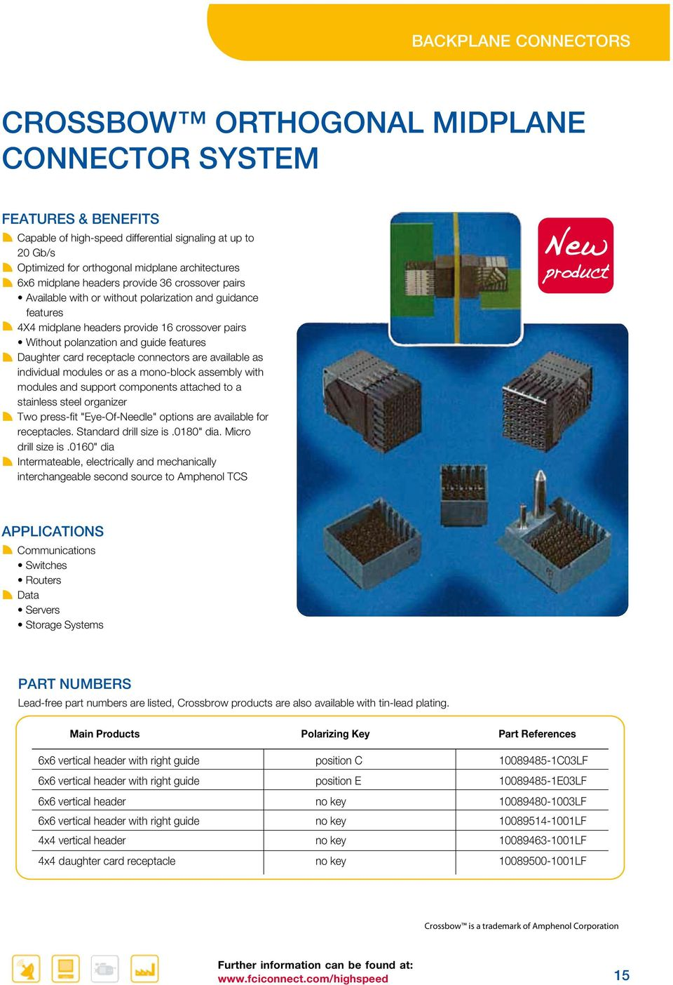 "connectors are available as individual modules or as a mono-block assembly with modules and support components attached to a stainless steel organizer Two press-fit ""Eye-Of-Needle"" options are"