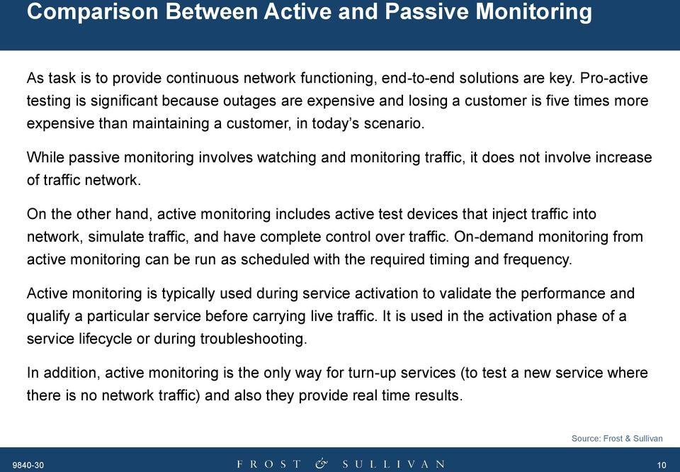 While passive monitoring involves watching and monitoring traffic, it does not involve increase of traffic network.